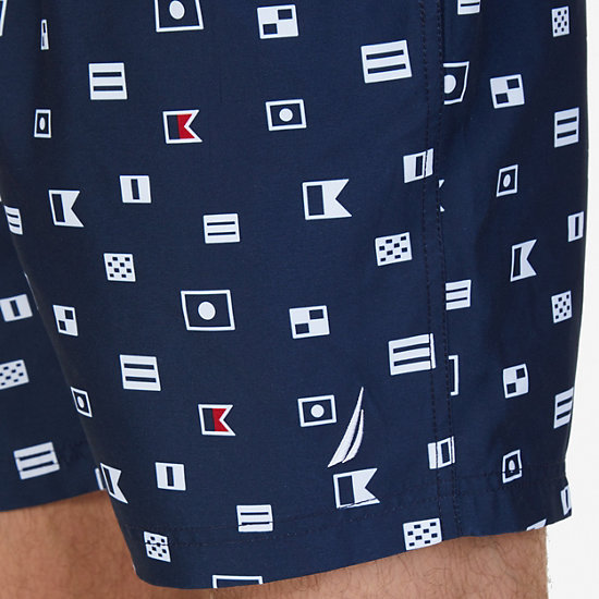 Quick-Dry Allover Sailing Flags Swim Trunks,Navy,large