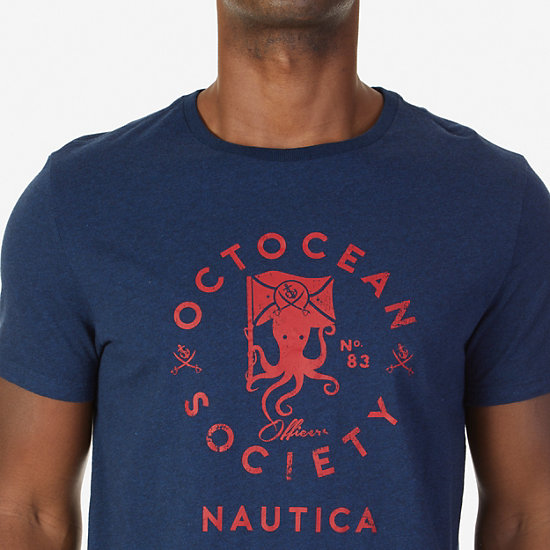 Octocean Society Graphic T-Shirt,Bayberry Blue,large