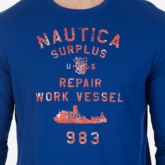 Surplus Graphic Long Sleeve T-Shirt,Estate Blue,large