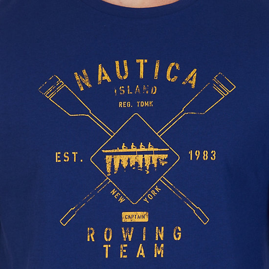 Rowing Team Graphic Long Sleeve T-Shirt,J Navy,large