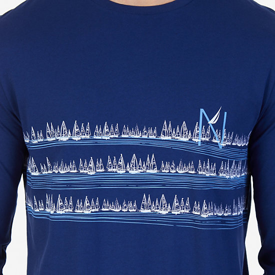 Sailboats Graphic Long Sleeve T-Shirt,J Navy,large