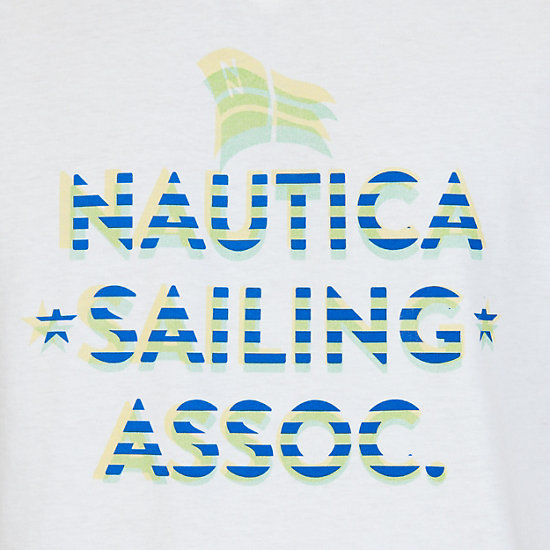 Sailing School Graphic V-Neck T-Shirt,Bright White,large