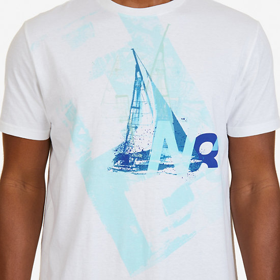 N83 Sailboat Graphic T-Shirt,Bright White,large
