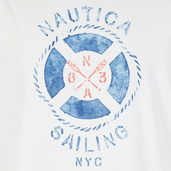 Sailing NYC Graphic Long Sleeve T-Shirt,Bright White,large