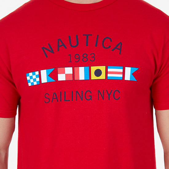 Signature Sailing Flags Graphic T-Shirt,Nautica Red,large