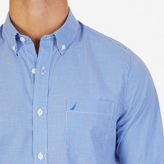 Long Sleeve Micro-Check Slim Fit Button Down,French Blue,large