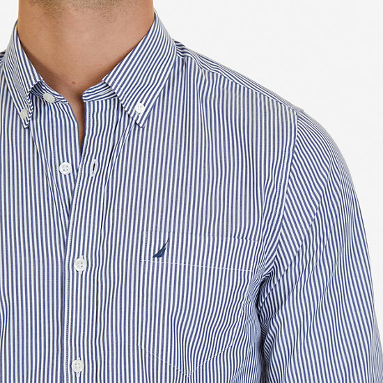 Striped Slim Fit Long Sleeve Button Down,Monaco Blue,large