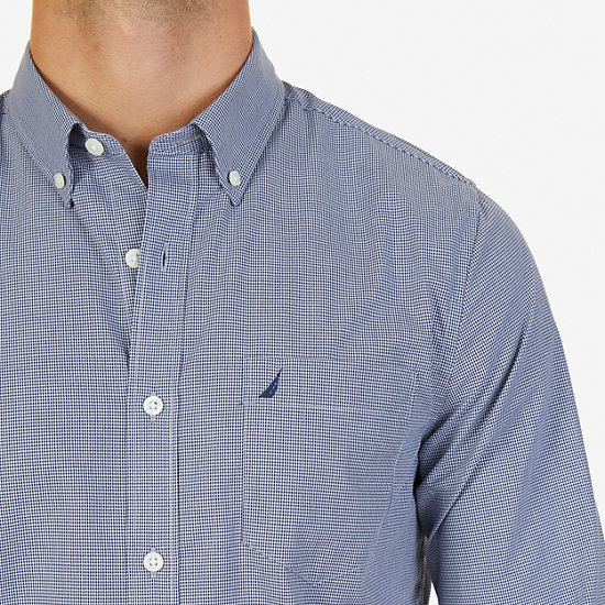Micro Gingham Slim Fit Button-Down Shirt,Monaco Blue,large
