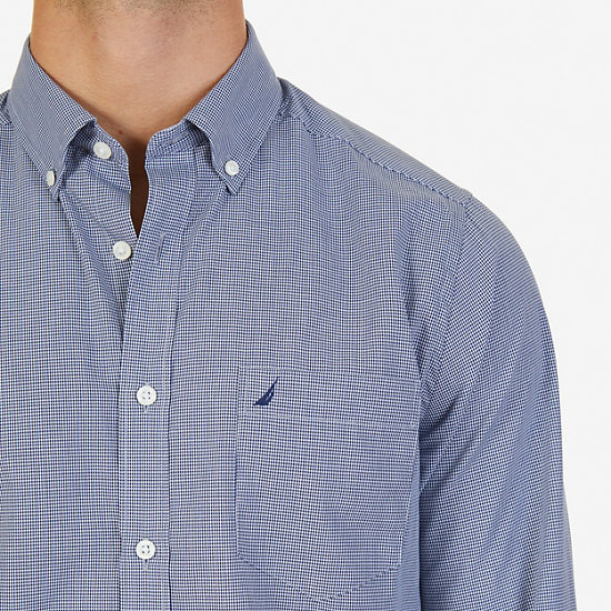 Micro-Check Classic Fit Button Down,Monaco Blue,large