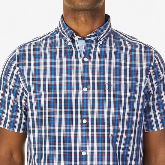 Classic Fit Navy Plaid Short Sleeve Shirt,J Navy,large