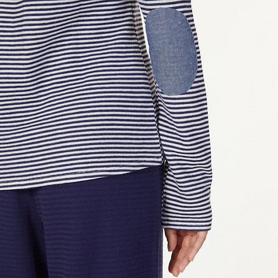 Chambray Stripe Long Sleeve Sleep Tee,Arctic White,large
