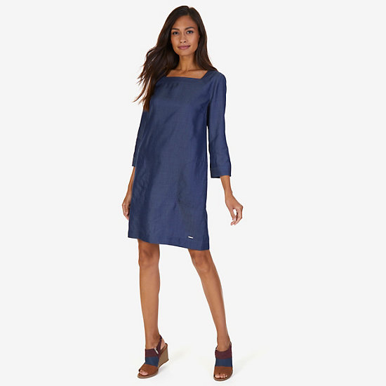 Square Neck Shift Dress,Washed Blue,large