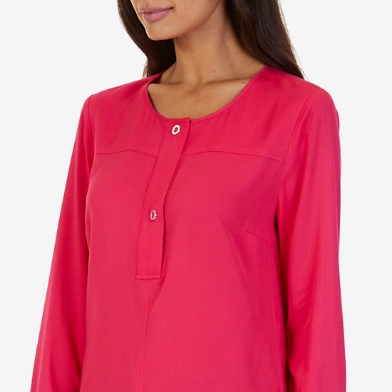 Half-Placket Popover Shirt,Sailor Red,large
