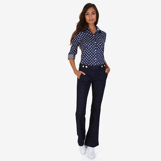 Maple Print Sateen Perfect Shirt,Dreamy Blue,large