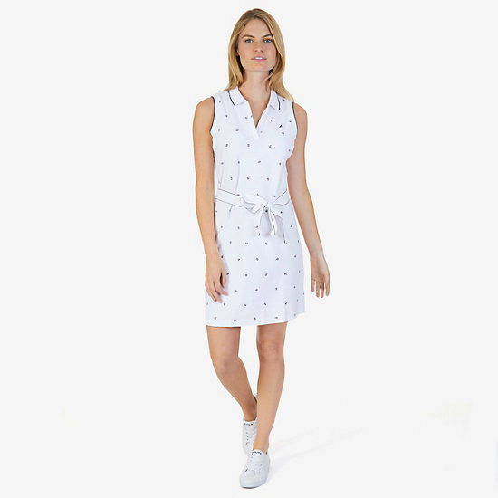 Anchor Motif Pique Polo Dress with Belt,Bright White,large