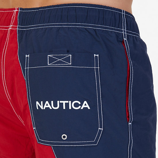 Quick Dry Diagonal Color Block Swim Trunk,Nautica Red,large