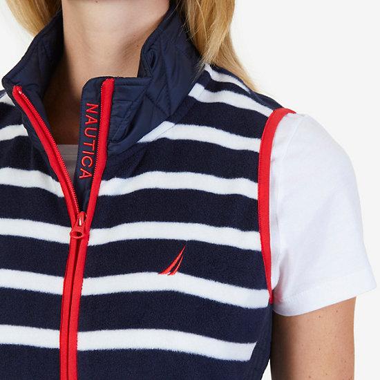 Striped Nautex Fleece Vest,Deep Sea,large