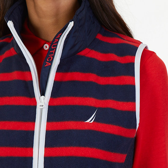 Striped Nautex Fleece Vest,Tomales Red,large