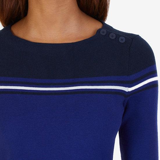 Shoulder Button Striped Dress,Navy,large