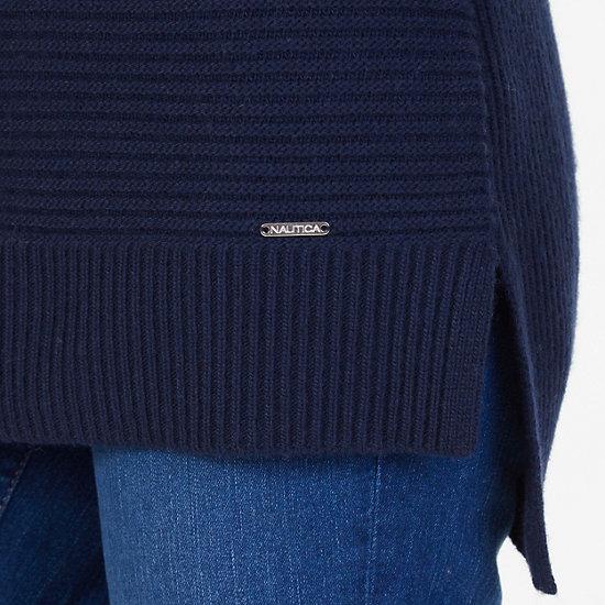 Cashmere Blend Boatneck Sweater,Deep Sea,large