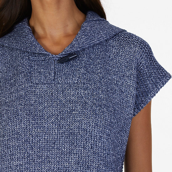 Hooded Pullover Sweater,Big Blue Wave,large