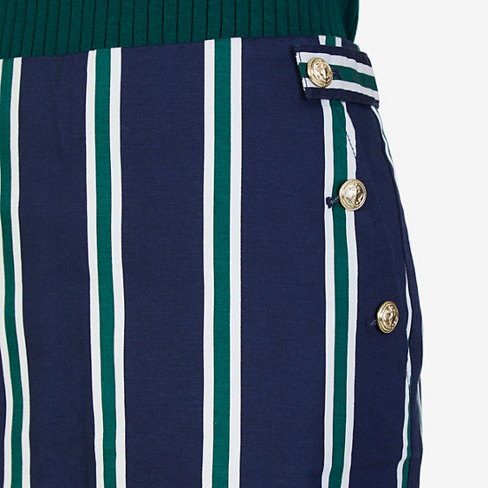 Striped Twill Skirt,Deep Sea,large