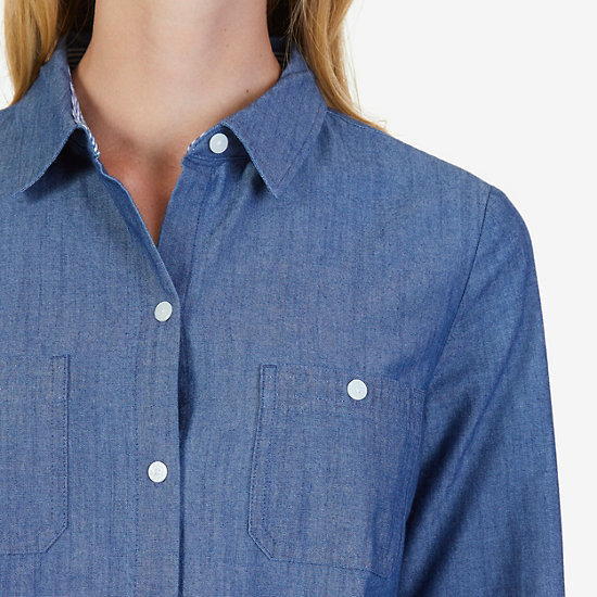 Chambray Slim Fit Perfect Button-Down Shirt,Nautica Blue,large
