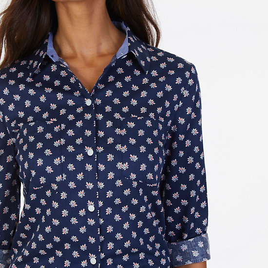 Maple Print Sateen Perfect Shirt,Deep Sea,large