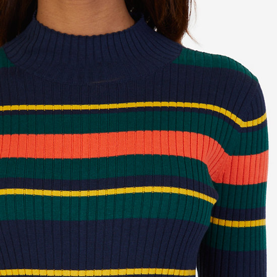 Striped Ribbed Mockneck Sweater,Dreamy Blue,large