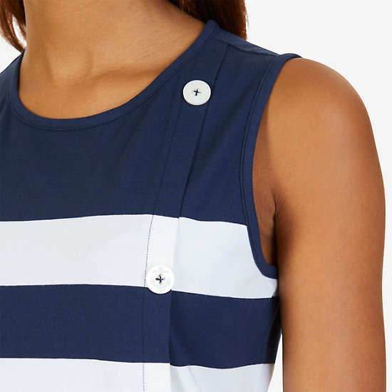 Striped Button-Side Top,Dreamy Blue,large