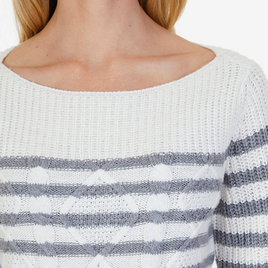 Cable Stripe Sweater,Egret,large