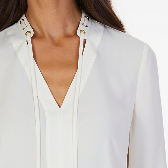 Solid Georgette Top,Chalk,large