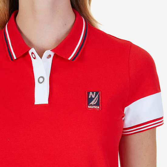Stretch Cotton Short Sleeve Polo Shirt,Tomales Red,large