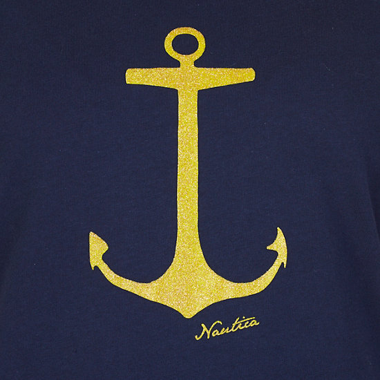 Anchor Glitter Tee,Deep Sea,large