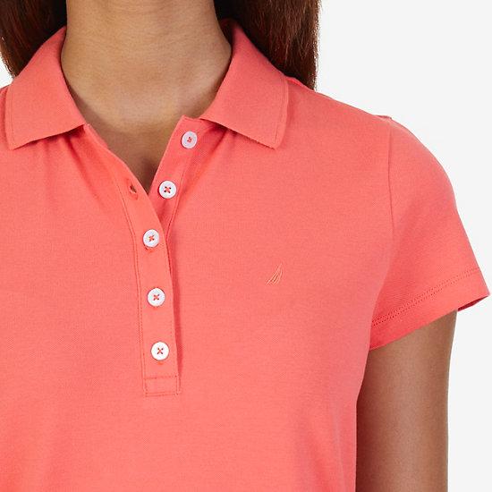 Short Sleeve Polo Dress,Petunia,large