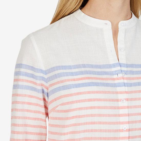 Long Sleeve Striped Tunic Shirt,Petunia,large