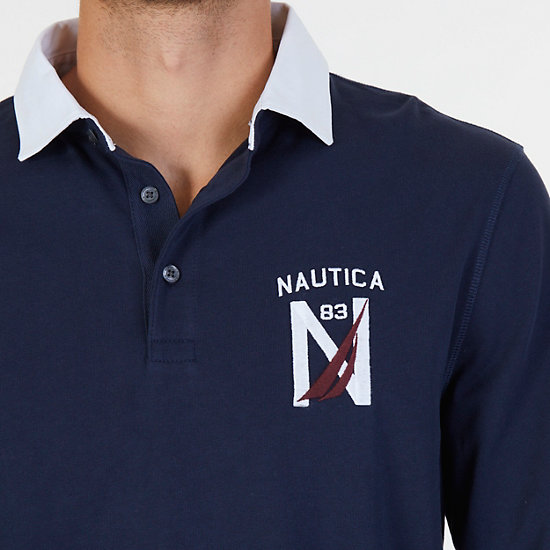 Classic Fit Long Sleeve Logo Polo Shirt,Navy,large