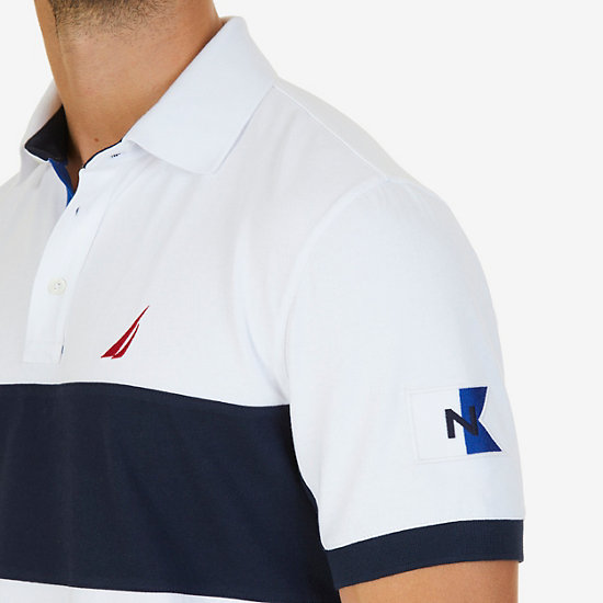 Classic Fit Short Sleeve Chest Stripe Polo with Logo Detail,Bright White,large