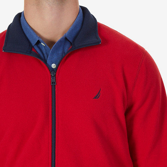 Nautex Fleece Zip Jacket,Nautica Red,large