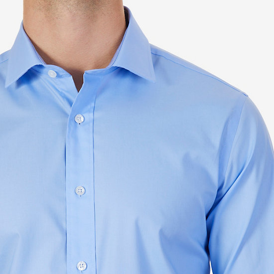 Iron-Free Solid Poplin Classic Fit Button Down,Blue Moon,large