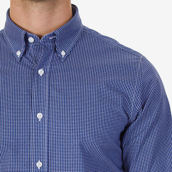 Wrinkle Resistant Classic Fit Check Dress Shirt,Classic Blue,large
