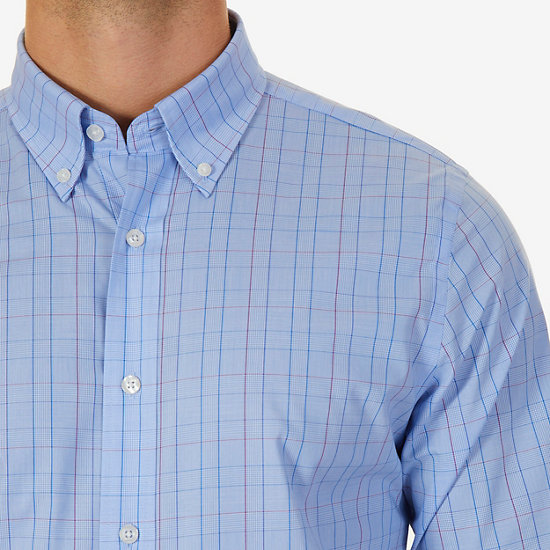 Windowpane Check Classic Fit Button Down,Starry Blue,large