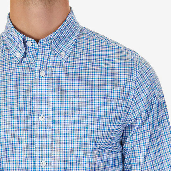 Classic Fit Tattersall Button Down,Medallion Blue,large