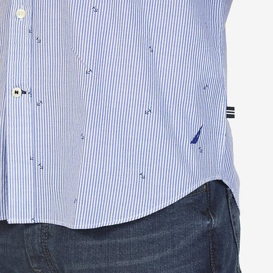 Nautica Big & Tall Striped & Anchor Print Shirt,Bright Cobalt,large