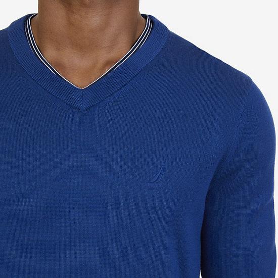 Big & Tall V-Neck Pullover Sweater,Estate Blue,large
