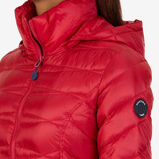 Long Down Puffer Coat,Tomales Red,large