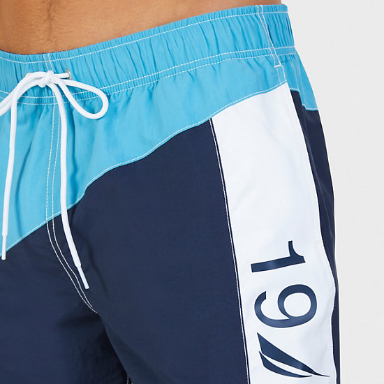 Quick-Dry Colorblock Swim Trunks,Blue Moon,large