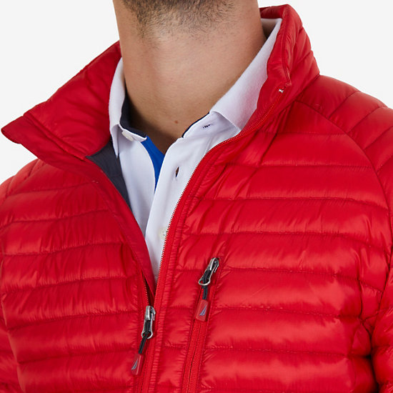 Quilted Nylon Down Jacket,Nautica Red/Orange,large
