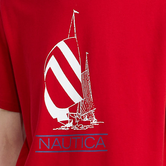 The Lil Yachty Collection by Nautica Sailboat Graphic T-Shirt,Nautica Red,large