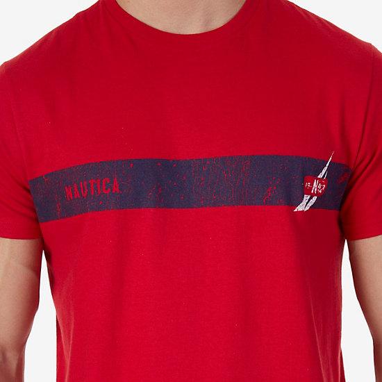 J Class Stripe T-Shirt,Nautica Red,large